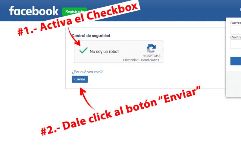 activar el checkbox de facebook para verificar que eres un humano