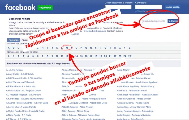 buscar personas y amigos en facebook usando el listado ordenado alfabéticamente