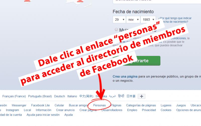 enlace personas para ver el-directorio de miembros de facebook