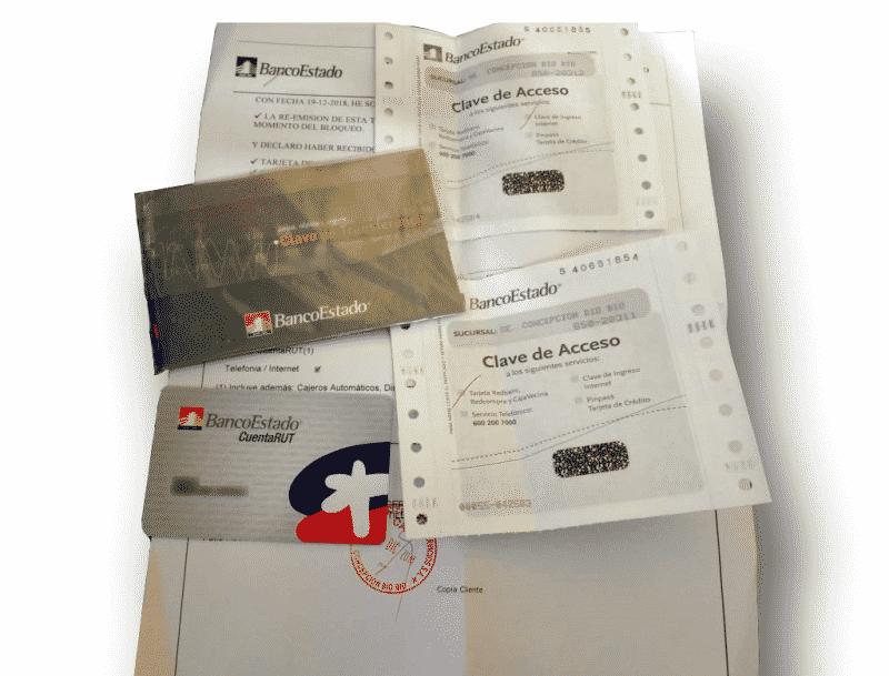 pack de documentos y claves que entregan al retirar la cuenta rut