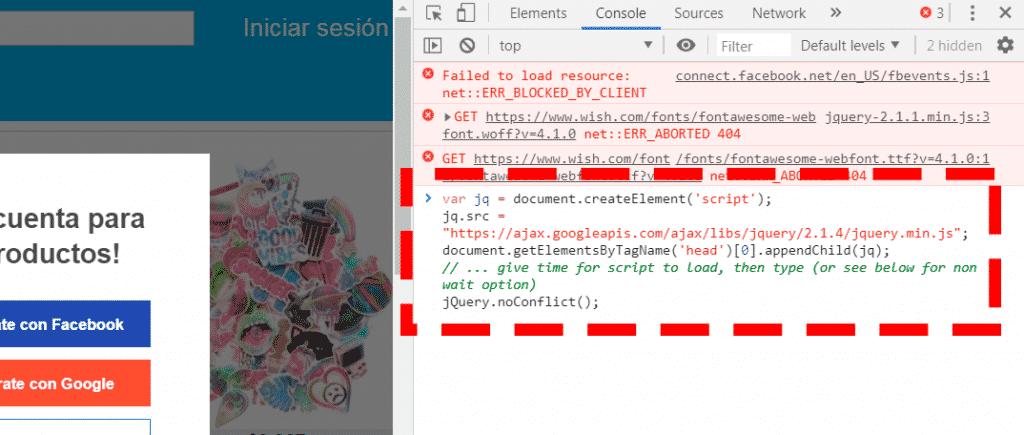 código javascript que permite ejecutar código jquery sobre una página