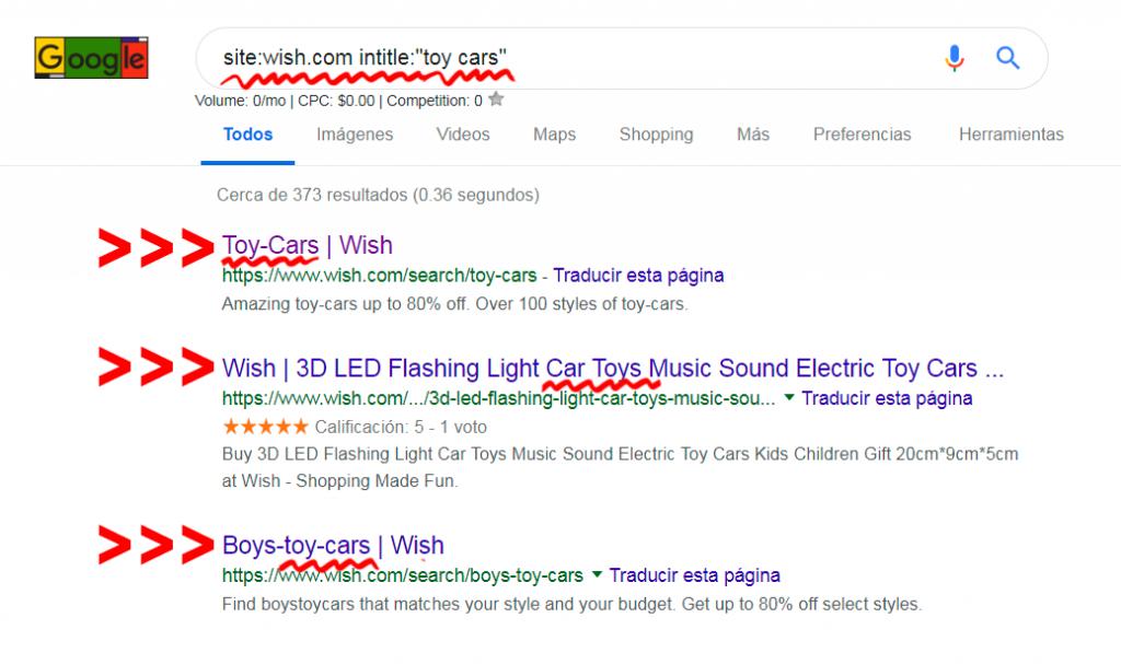 entrar a Wish como invitado desde Google buscando términos de búsqueda en los títulos de cada url
