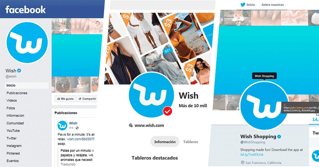 entrar como invitado a Wish desde sus redes sociales