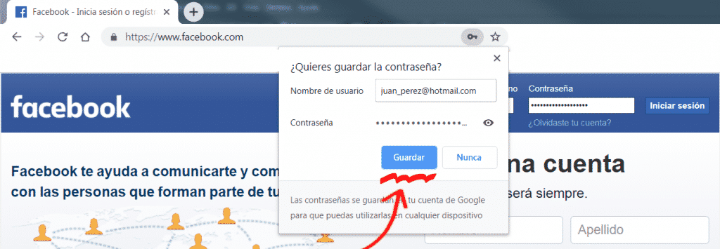 guardar contraseña en el administrador de contraseñas de Google Chrome