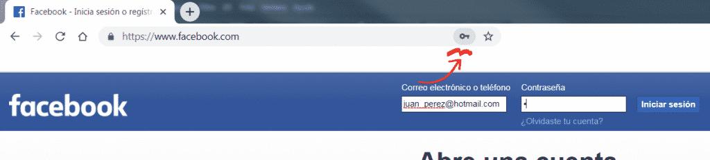 hacer click en el icono del administrador de contraseñas de Google Chrome