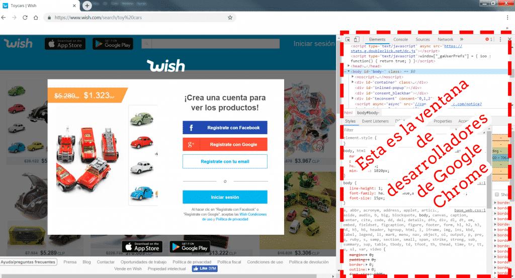 imagen en que se ve el modo desarrollador de Google Chrome