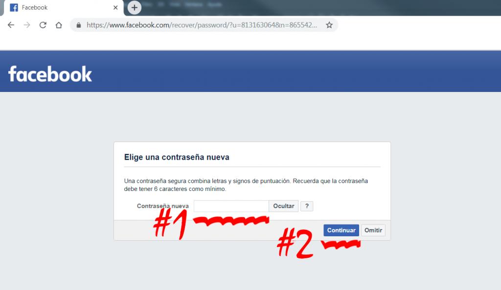 ingresar contraseña nueva en Facebook