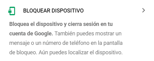 opción para bloquear el dispositivo con Google Android find