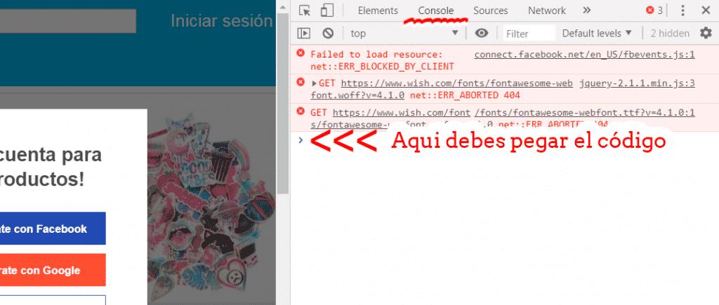 sitio de la consola para desarrolladores de Google Chrome en el cual se debe pegar el código Javascript